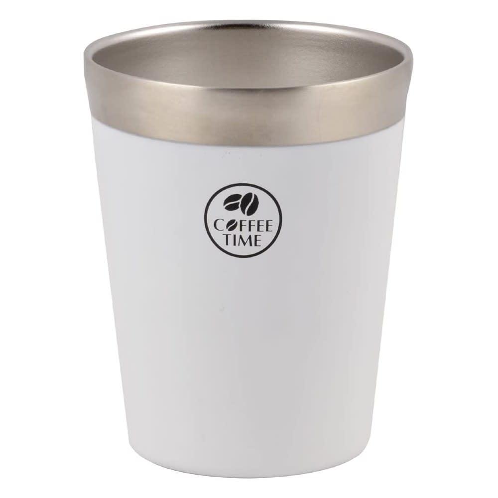 アイスコーヒーを冷たいままに!ホットコーヒーも冷めにくく!真空コンビニカップ Lサイズ (ア)ホワイト