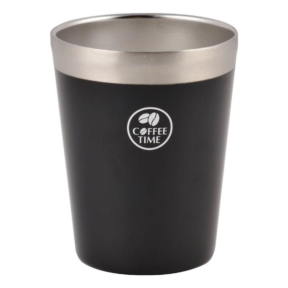 アイスコーヒーを冷たいままに!ホットコーヒーも冷めにくく!真空コンビニカップ Lサイズ (イ)ブラック