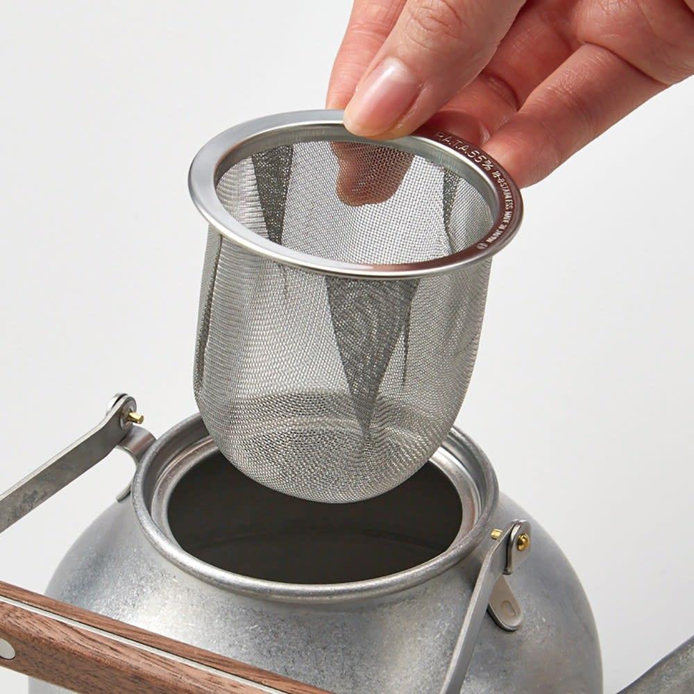 ミヤコ ステンレス製急須 大 ステンレス製の茶こし付き。