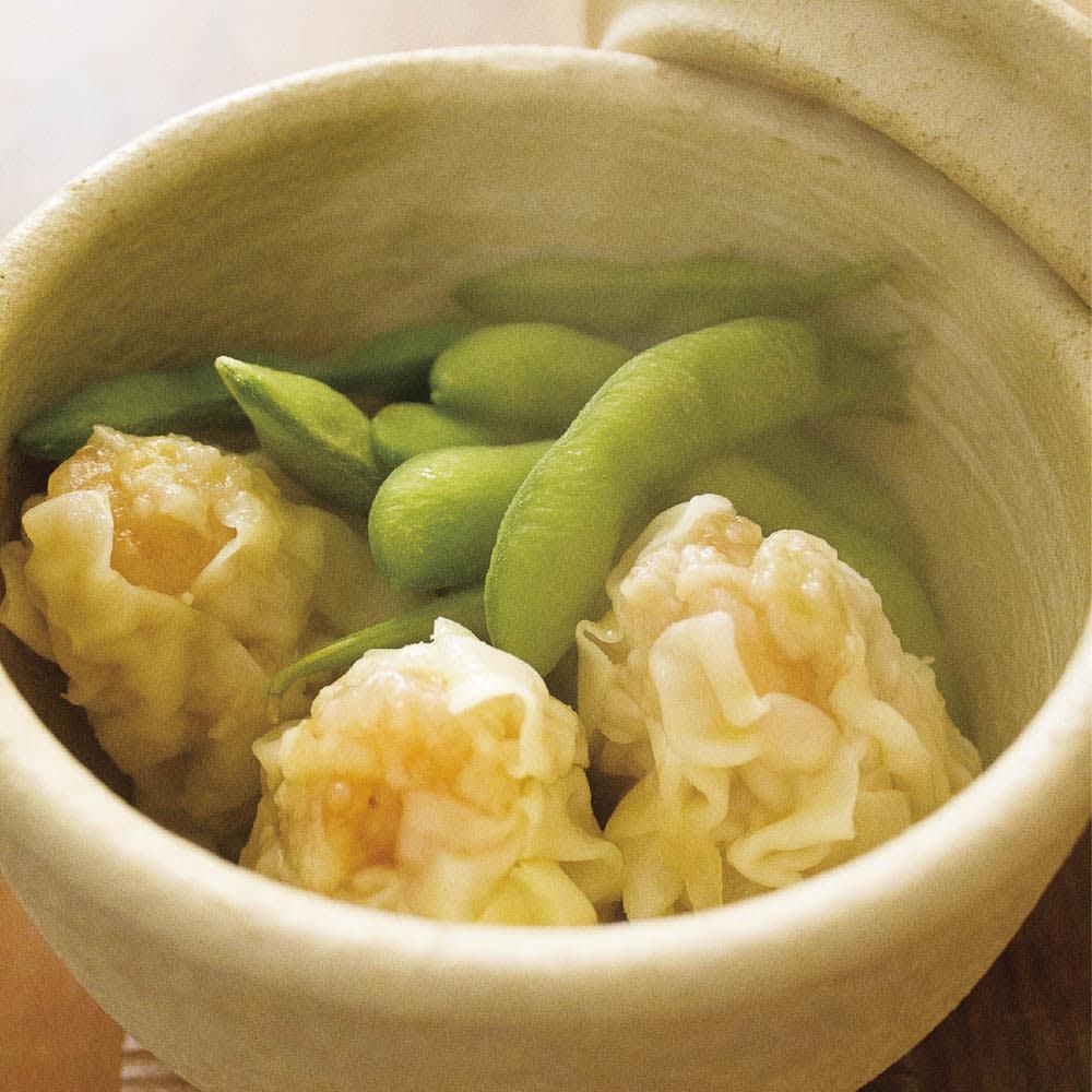 伊賀焼長谷園 陶器のおひつ陶珍 2合用 冷凍枝豆&しゅうまい
