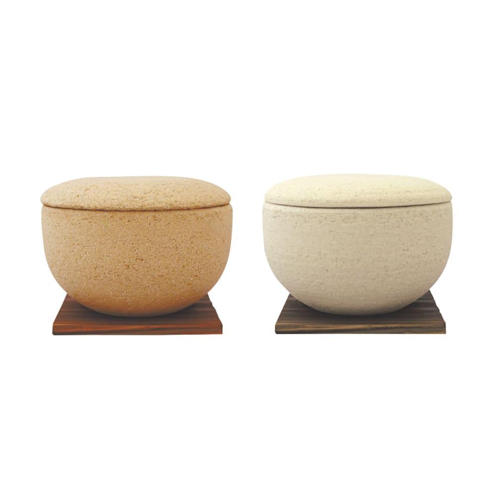 伊賀焼長谷園 陶器のおひつ陶珍 2合用 左から(ア)黄瀬戸 (イ)粉引