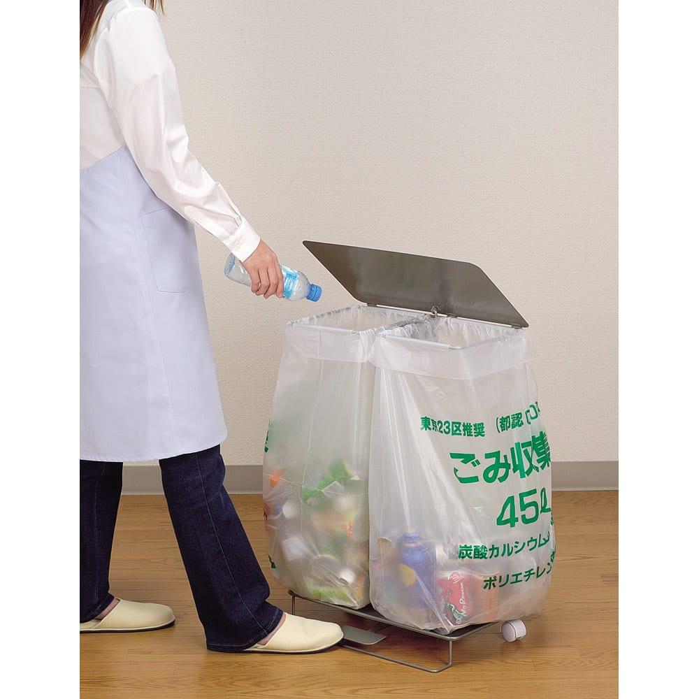 ペダル式ダストスタンド(簡易ゴミ箱) 使用イメージ