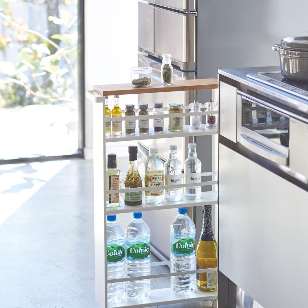 家具 収納 キッチン収納 食器棚 キッチン隙間収納 ハンドル付きスリムワゴン タワー WX0541