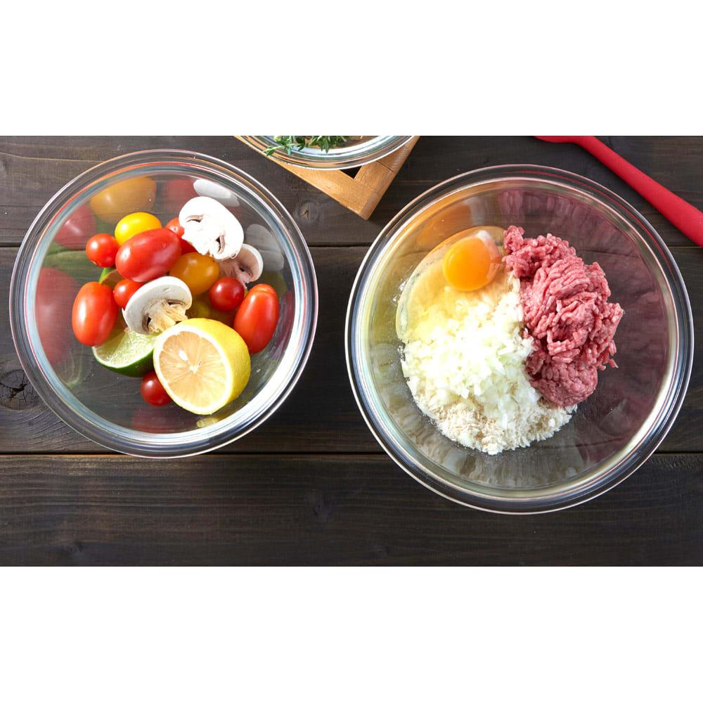 キッチン 家電 鍋 調理器具 ボウル ザル HARIO ハリオ 耐熱ガラス製ボウル2個セット WX0554