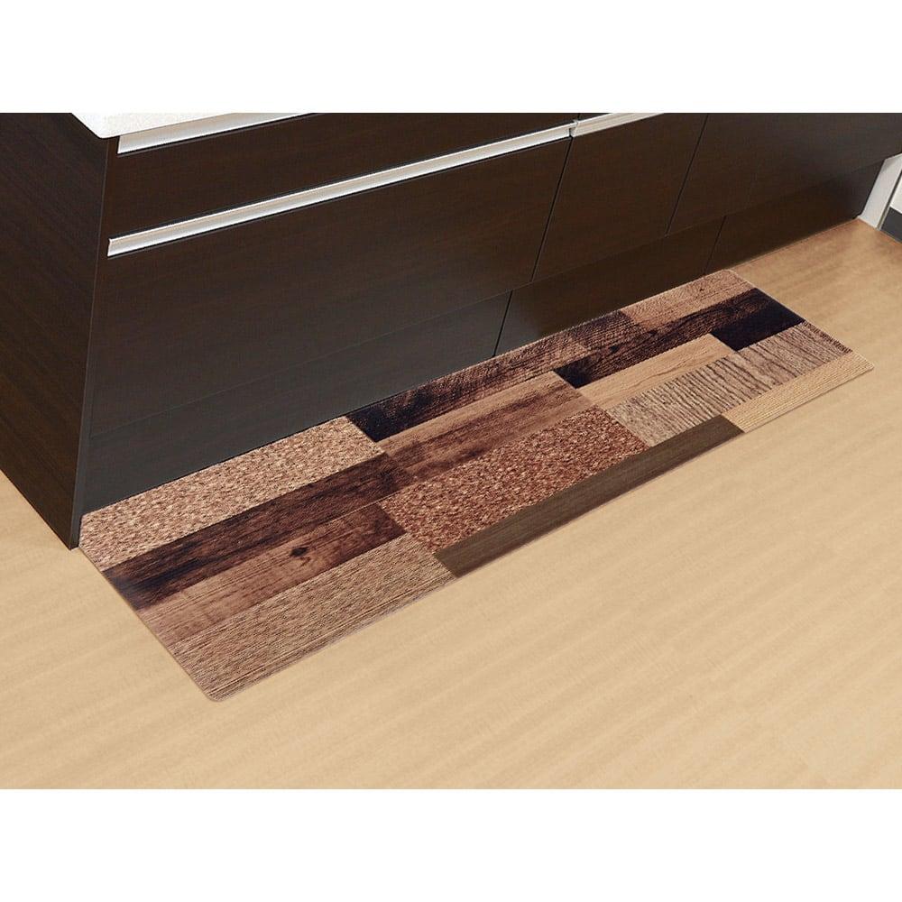 さらっと拭ける!ぷにぷにキッチンマット 45×180cm (ア)ミックスウッドダーク