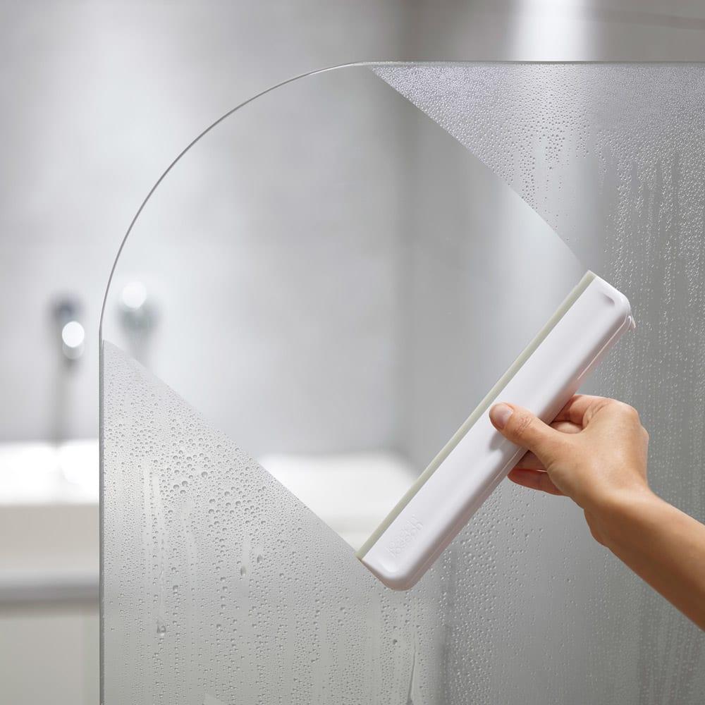 JosephJoseph/ジョセフジョセフ お風呂の窓や、鏡の掃除に!イージーストア シャワー スクイージ ホワイト 手入れ・リフォーム用品