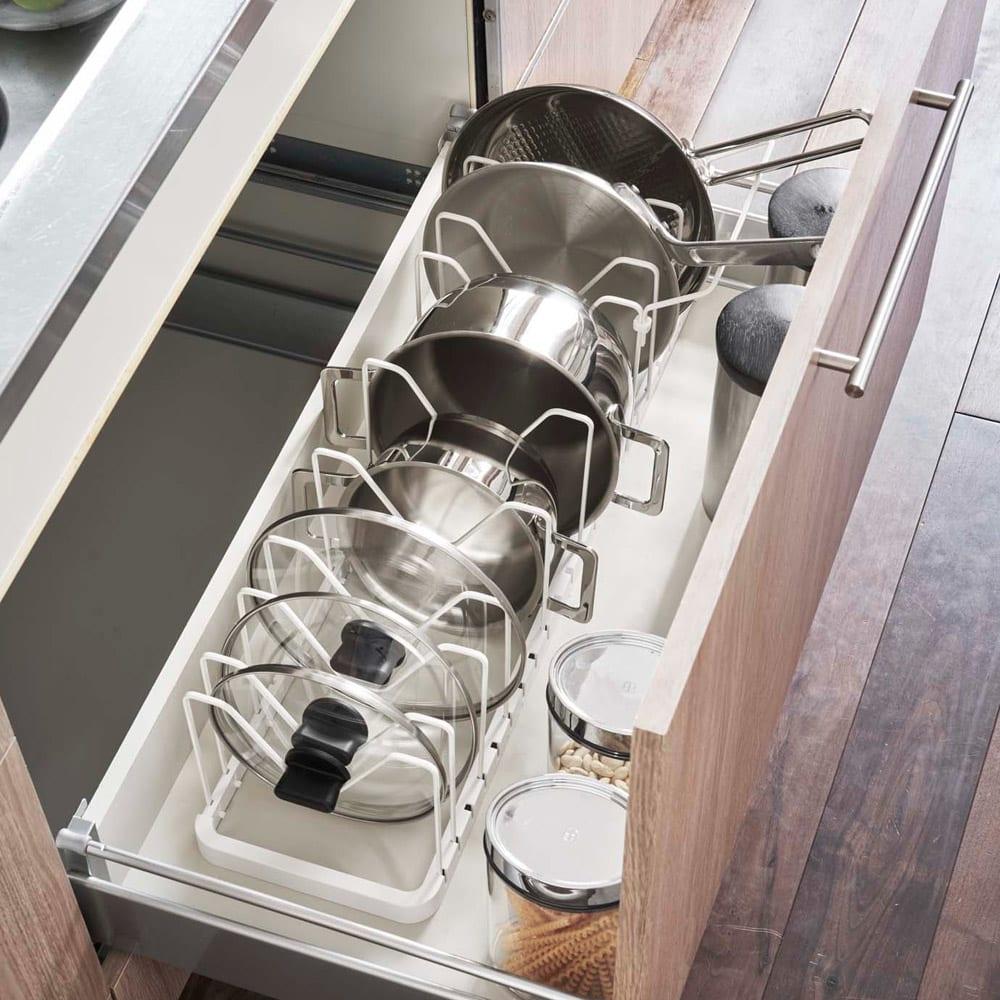 シンク下 伸縮鍋蓋 & フライパンスタンド タワー ホワイト/ブラック シンク下・コンロまわり収納