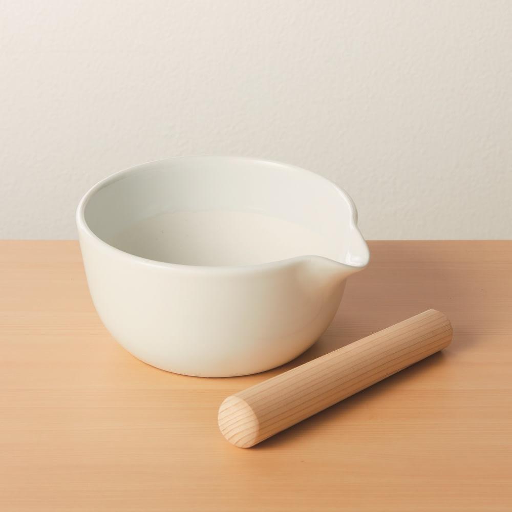 櫛目のないすり鉢・専用すり棒セット(大) ホワイト キッチンツール