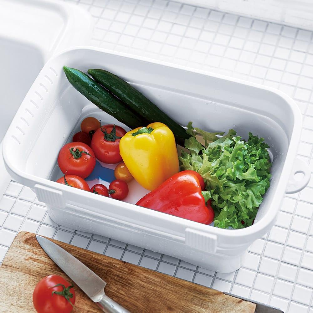 キッチンソフトタブ たためる洗い桶 ホワイト