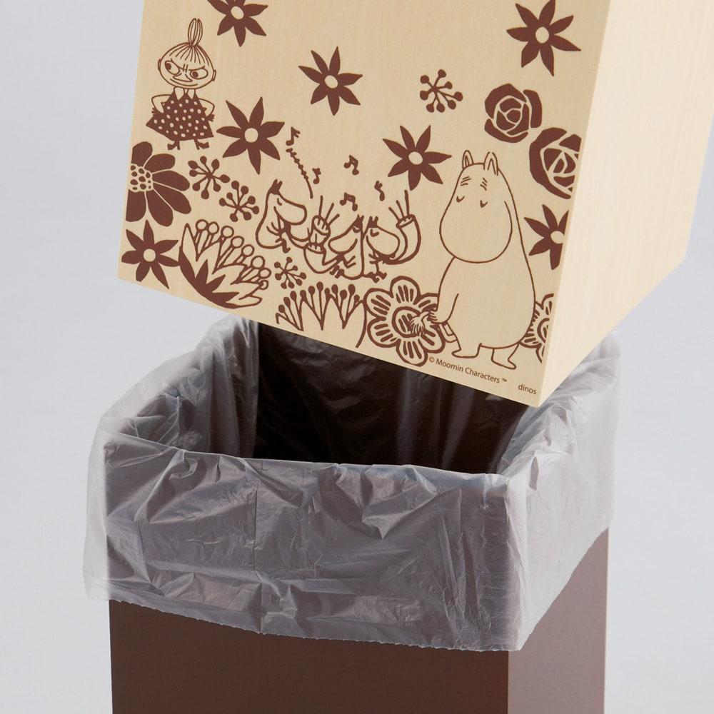 ムーミン キューブ型ダストボックス10L 1個 袋をセットして上のキューブをかぶせて隠せます。