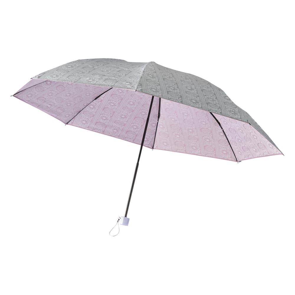 フィンレイソン 晴雨兼用大判折りたたみ日傘 60cm(直径105cm) (ウ)ピンク(外面はシルバー)