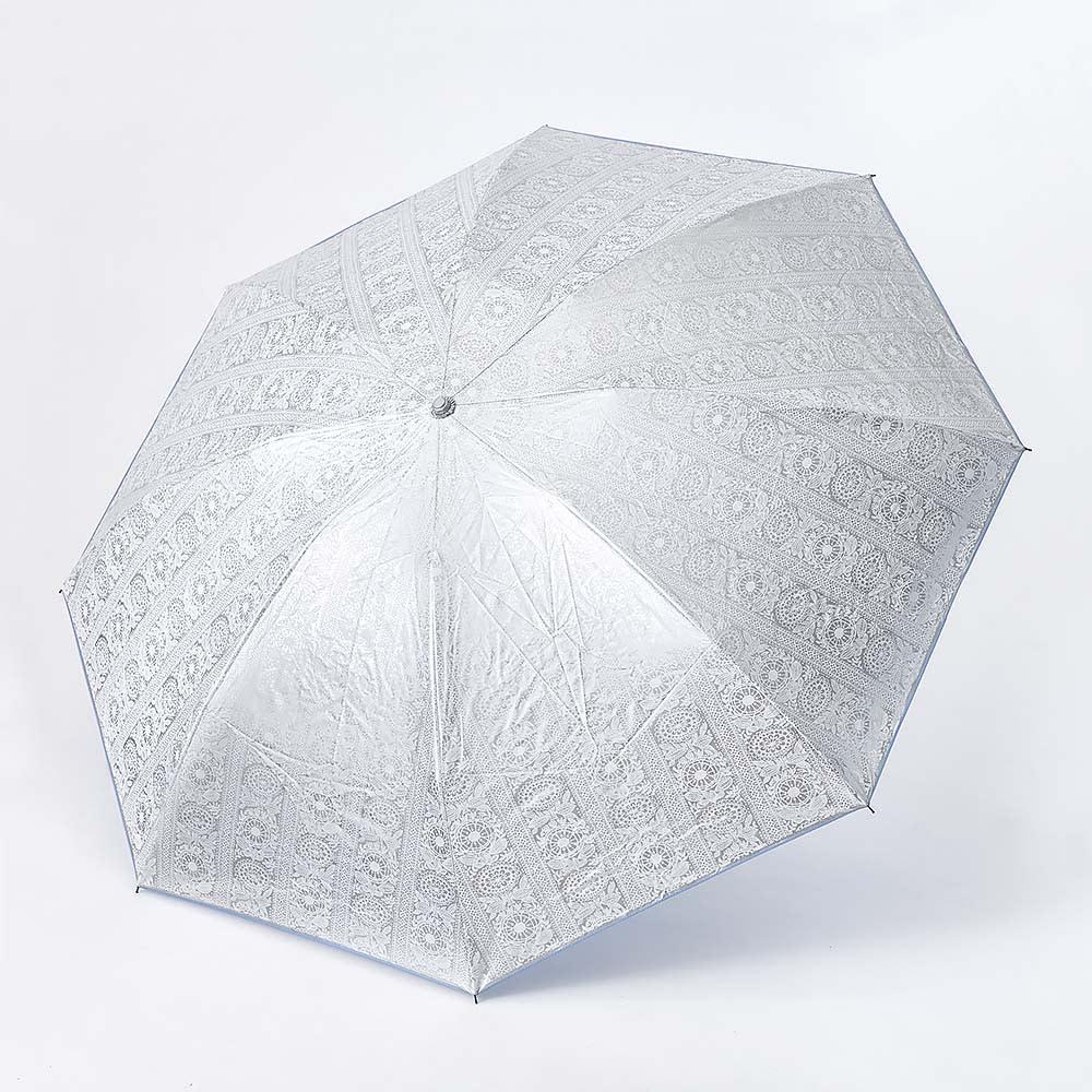 フィンレイソン 晴雨兼用大判折りたたみ日傘 60cm(直径105cm) 外面は3色共通で日差しも熱もカットするシルバーコーティング。