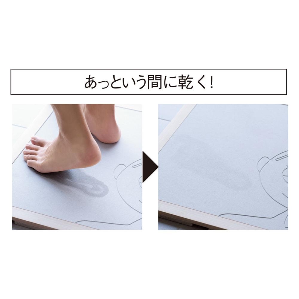 ムーミン soleau/ソレウ 吸水・速乾・消臭バスマット(幅60cm) 濡れた足をのせると素早く水を吸収、あっという間に乾きます。