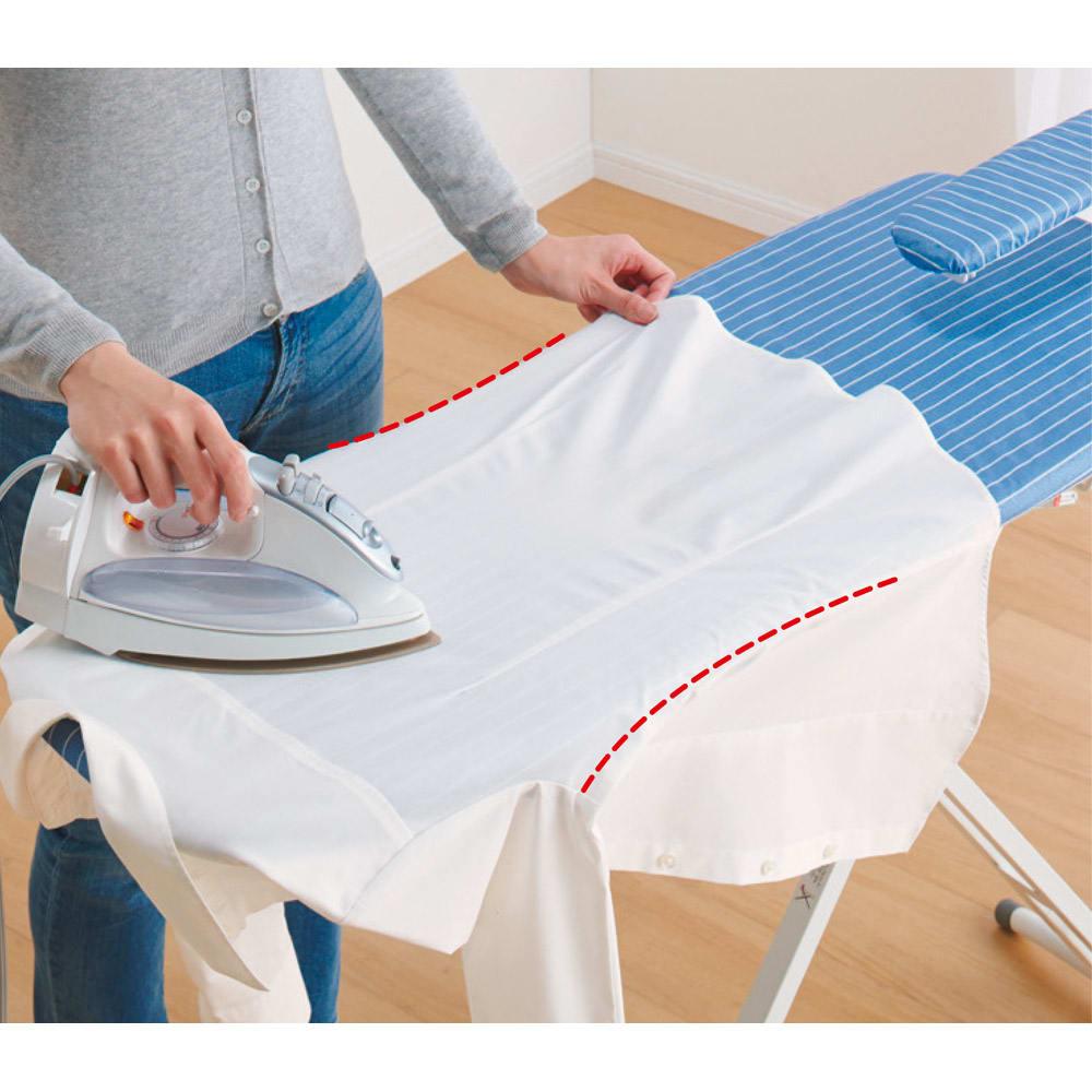 シャツが掛けやすいアルミコートアイロン台 側面のくびれがYシャツの脇のラインにぴたりとはまって掛けやすく、スピーディに、プロのような仕上がりに。
