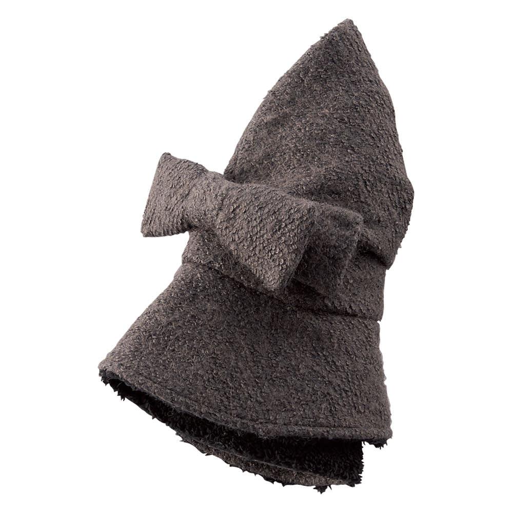蓄熱素材のたためるすっぴん隠し帽子 (イ)グレー リボンで帽子を丸め、留められます。