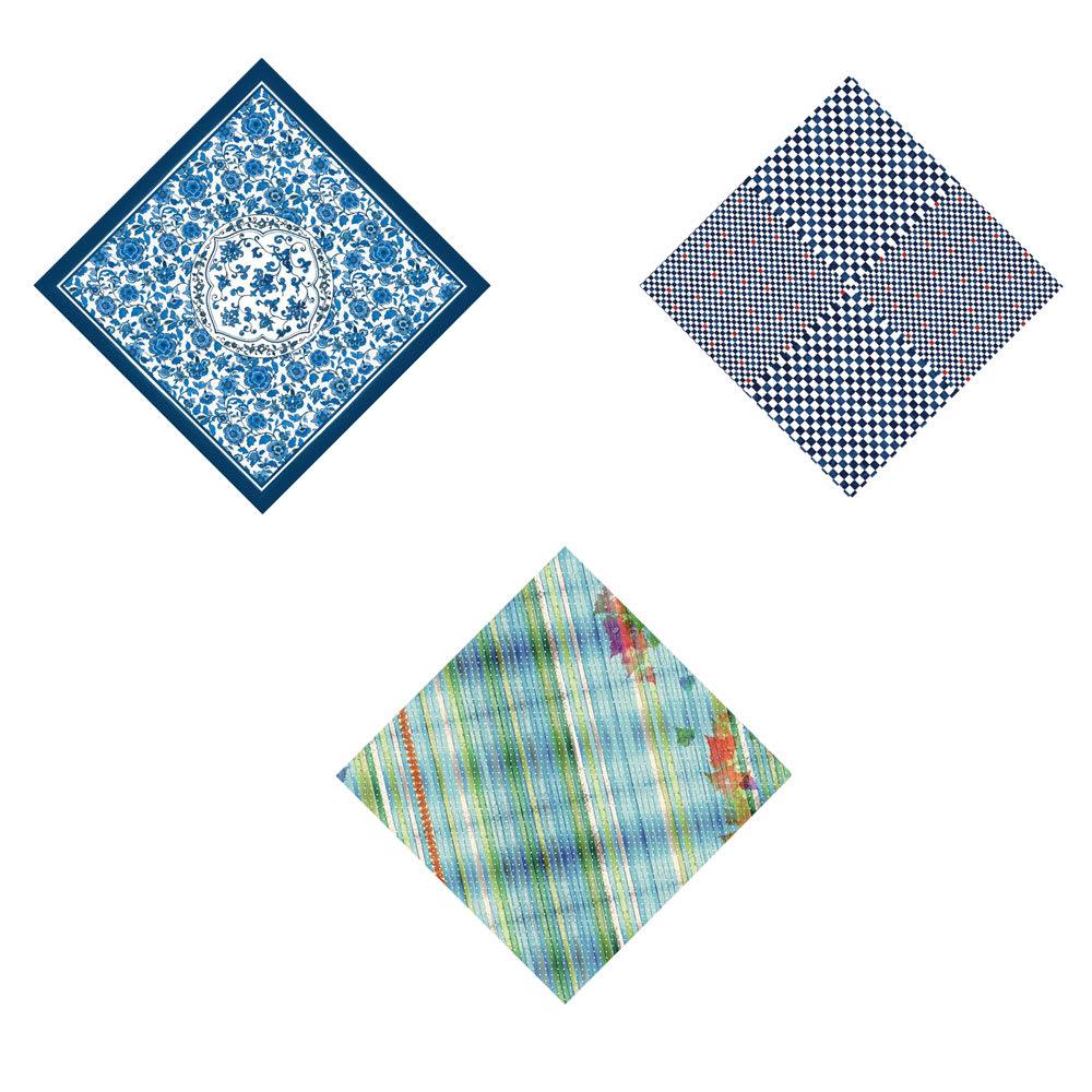 朝倉染布 濡れないはっ水風呂敷 (96×96cm) 左上から時計回りに(カ)サラサ、(シ)イチマツ、(サ)ミナモ