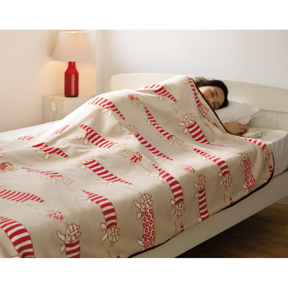 LISA LARSON/リサ・ラーソン電気毛布シリーズ 電気掛け敷き毛布 (ア)ベージュ(マイキー)
