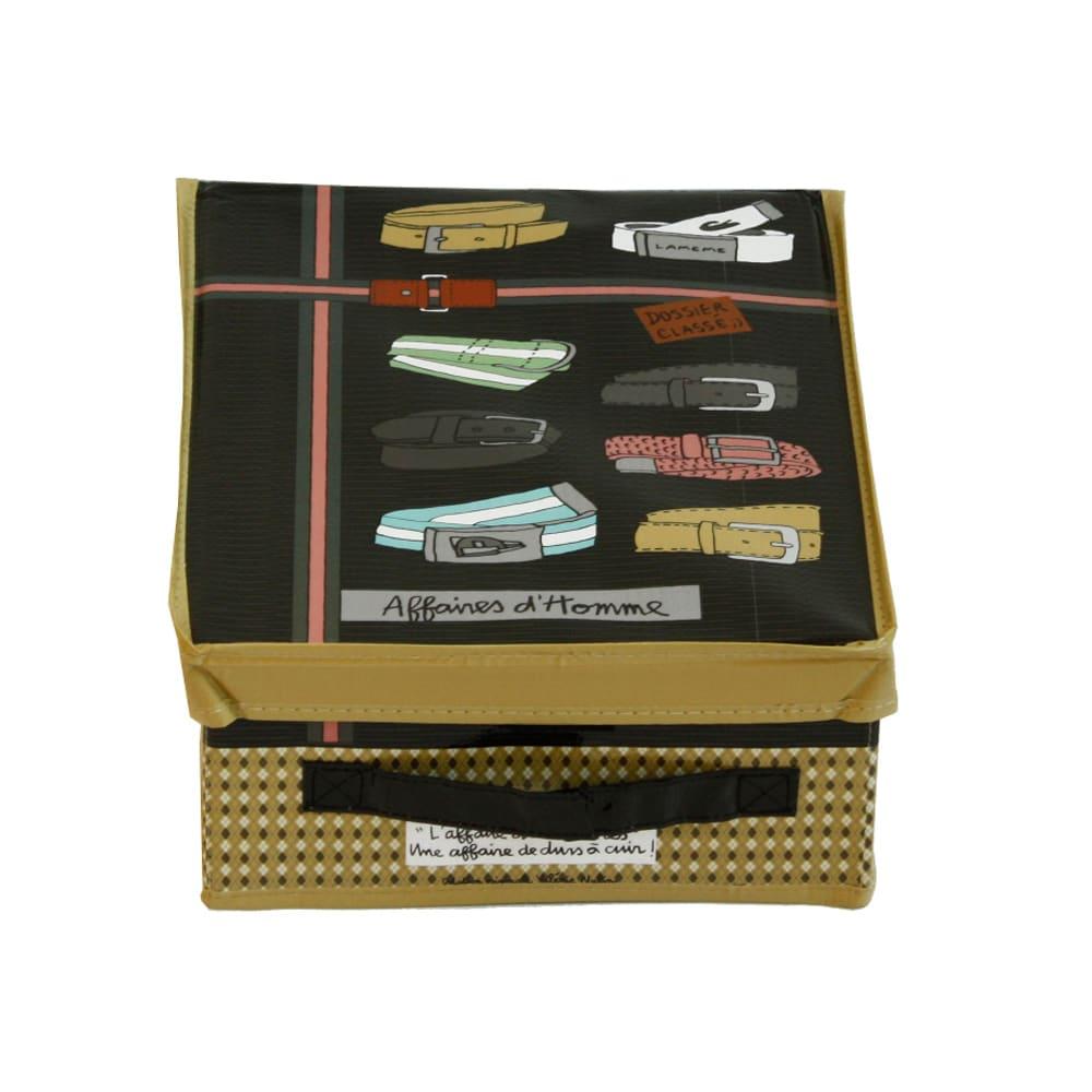 収納BOX メンズベルト(柄:ブラウン) 小物はどこに置いたか忘れがち。表面が中身を教えてくれて、かしこくかわいく収納!