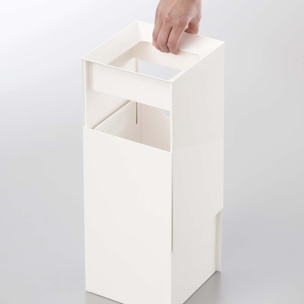 トラッシュカン ヴェール ダストボックス 本体のカバーがゴミ袋を目かくしします。
