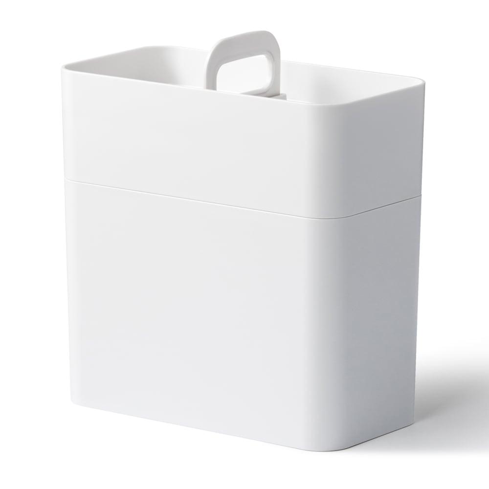 Like-it 持ち運びができる 樹脂製 メイクボックス  (ア)ホワイト 収納時