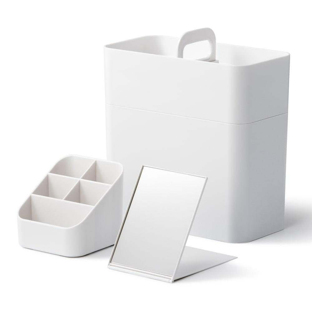 Like-it 持ち運びができる 樹脂製 メイクボックス  (ア)ホワイト 展開時
