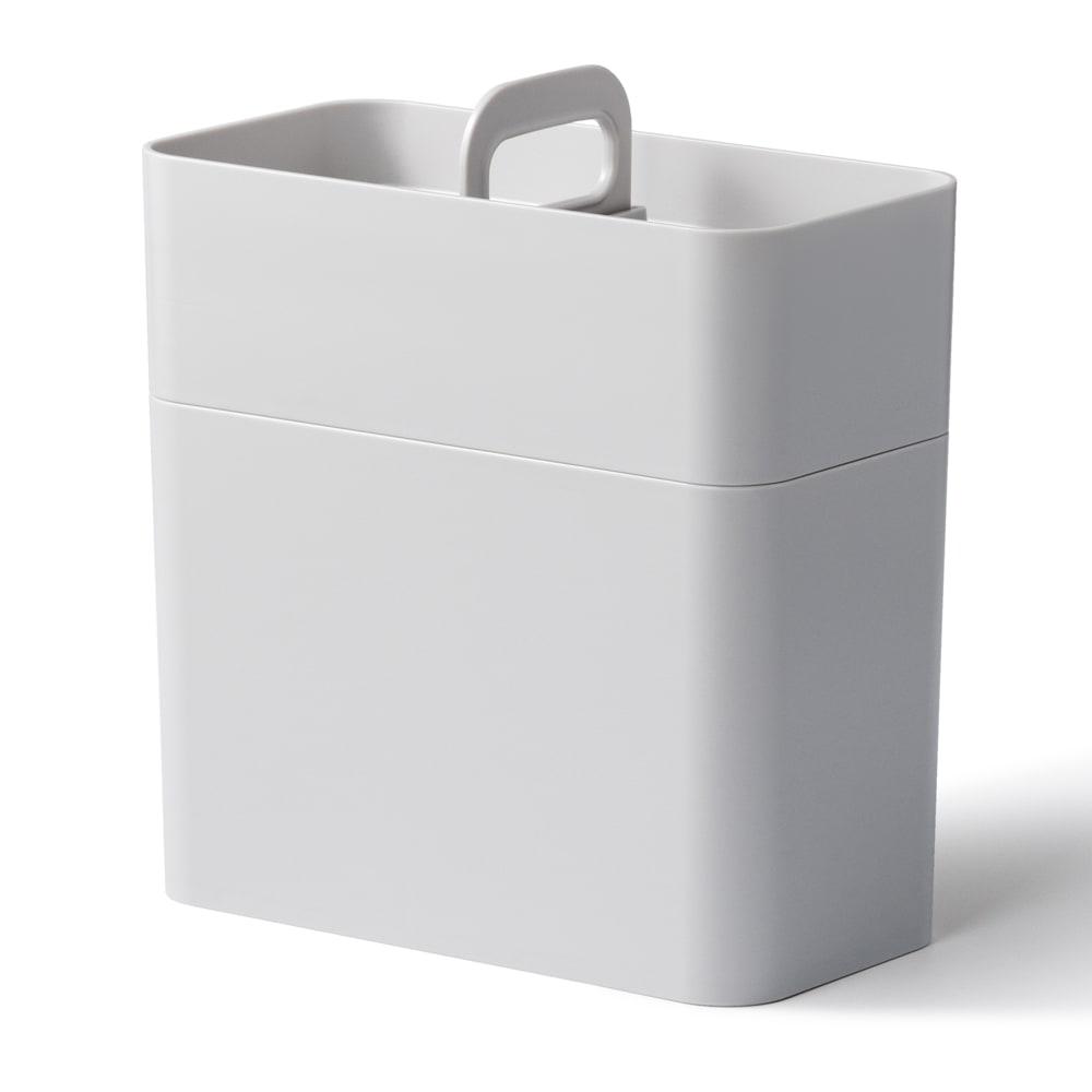 Like-it 持ち運びができる 樹脂製 メイクボックス  (イ)グレー 収納時
