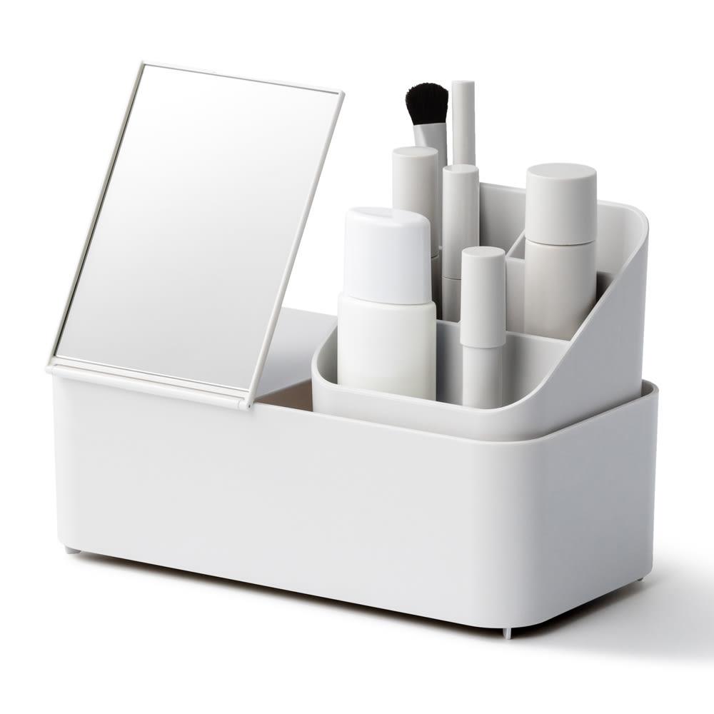 Like-it 持ち運びができる 樹脂製 メイクボックス  トレーに鏡とブラシホルダーを重ねれば、よりコンパクトな簡易ドレッサーに。