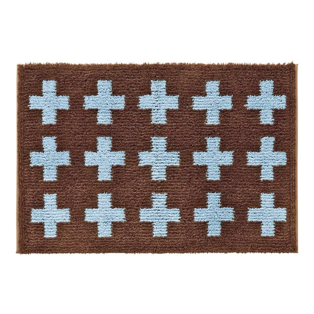 抗菌防臭加工クロス玄関マット 約50×75cm (ア)ブラウン