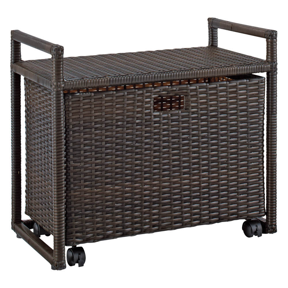 ラタン風玄関ベンチBOX付き 幅60cmタイプ(ア)ブラウン