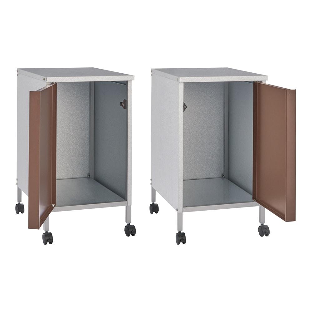 ベランダ物干しサポートワゴン キャスター付き収納庫 (イ)ダークブラウン 扉は右左どちら開きにも組み立てられます。