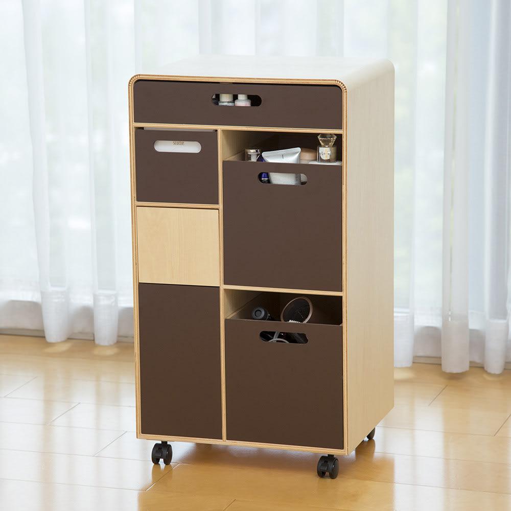北欧風 曲げ木リビングワゴン ゴミ箱付きメイク収納 ダークブラウン お届けはダークブラウン色です。