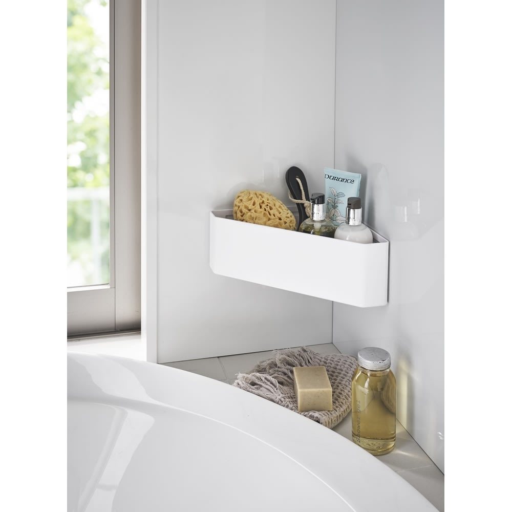 Tower/タワー マグネットバスルームコーナーおもちゃラック  バスルームのコーナーにマグネットで簡単に取り付けができるおもちゃラック。