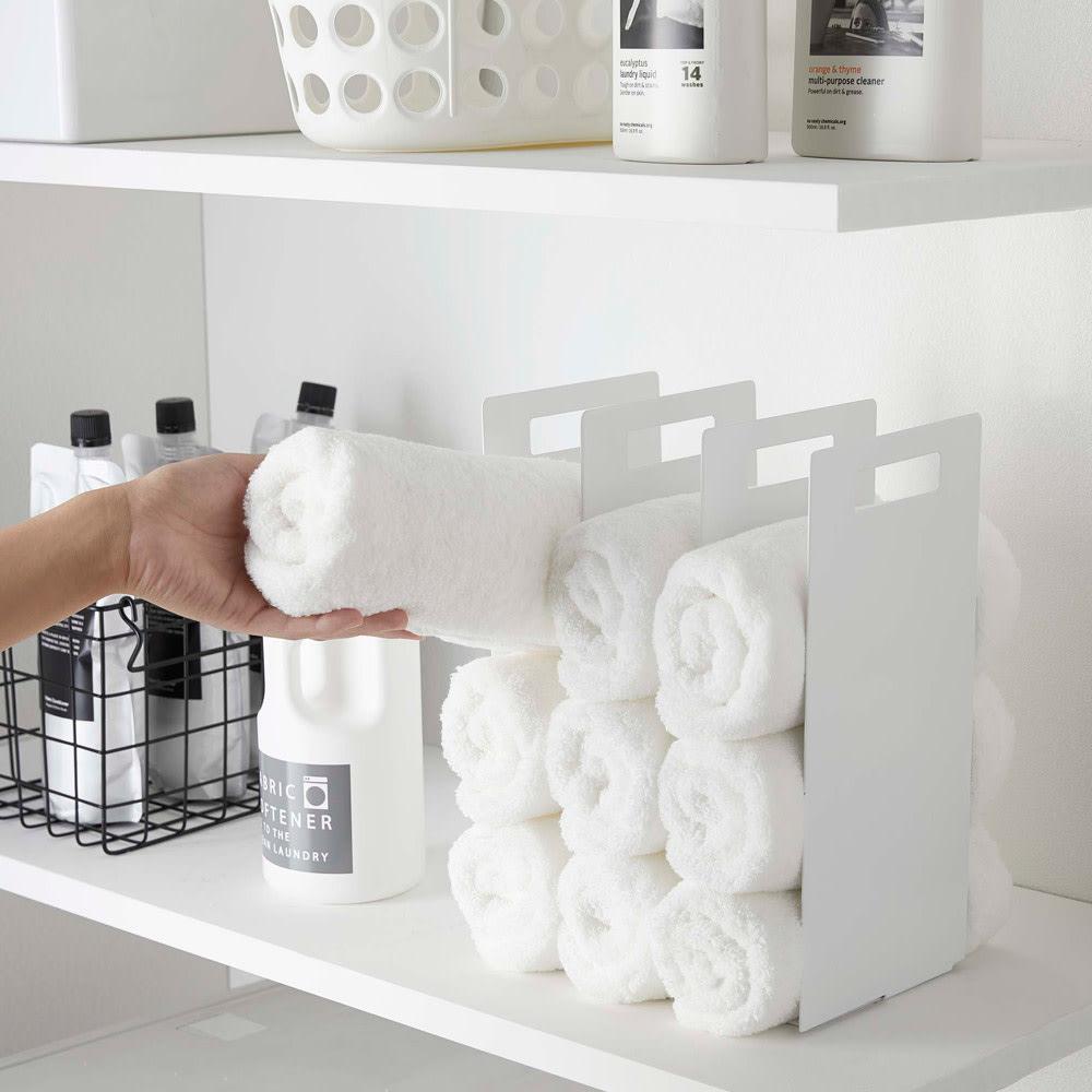 Tower/タワー 連結タオル収納ラック2個組 タオルをまるめておしゃれに収納できます。
