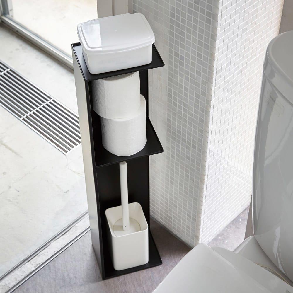 Tower/タワー スリムトイレラック トイレットペーパーやトイレブラシ、お掃除用スプレーやシートなどをまとめて収納できます