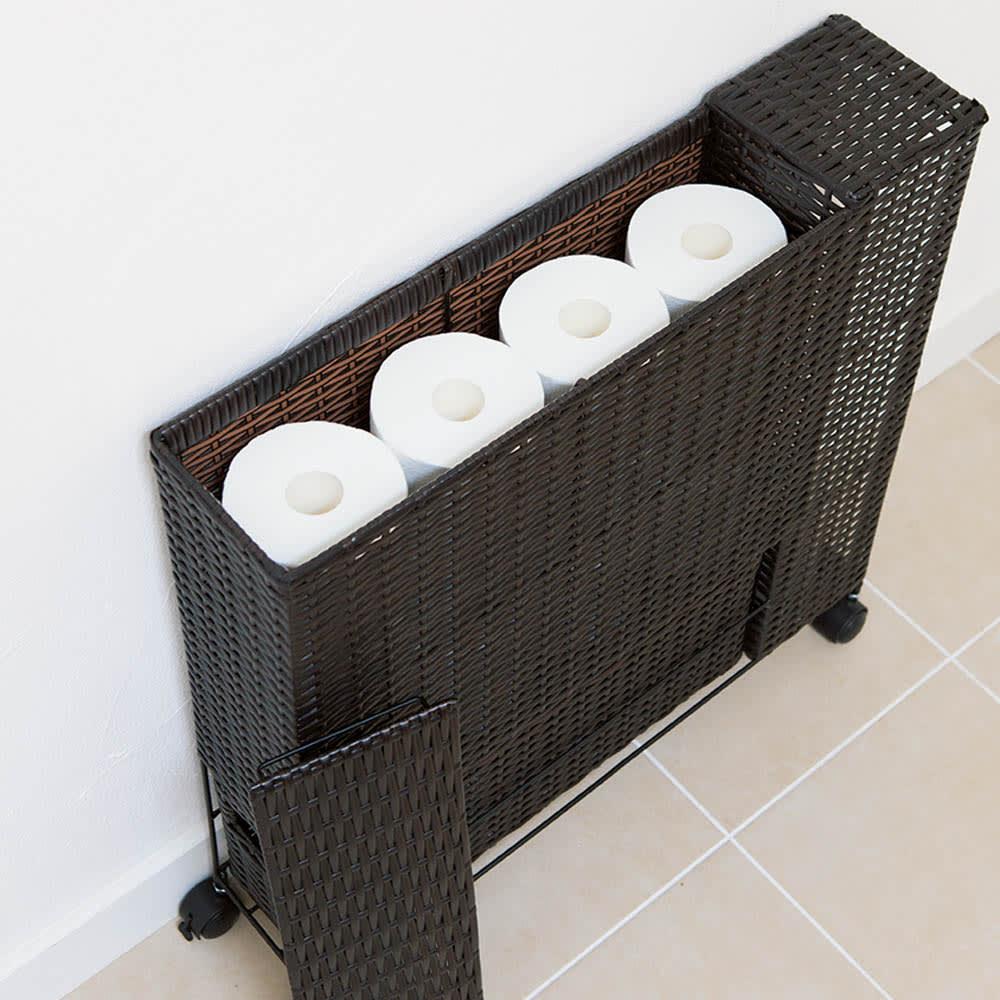 ラタン風ランドリーチェストシリーズ トイレ収納ラック 大きめサイズのロール12個まで収納可能。