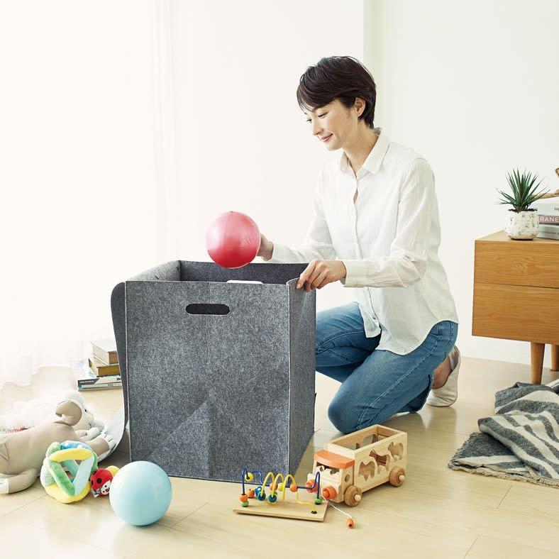 felsto 縦型フェルト リビング収納BOX お子さまのおもちゃも、ポイポイ入れてサッと目隠し!