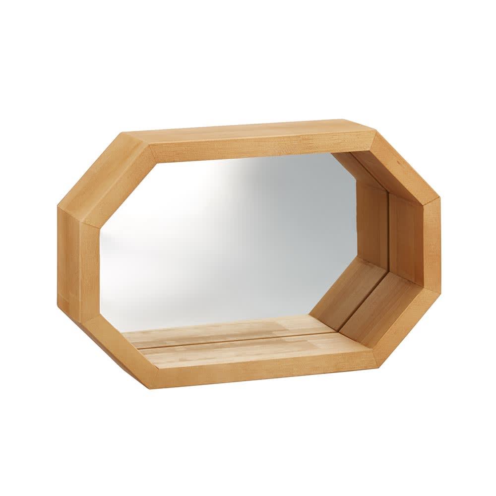 八角形 インテリアフレーム  ミラー (ア)ナチュラル