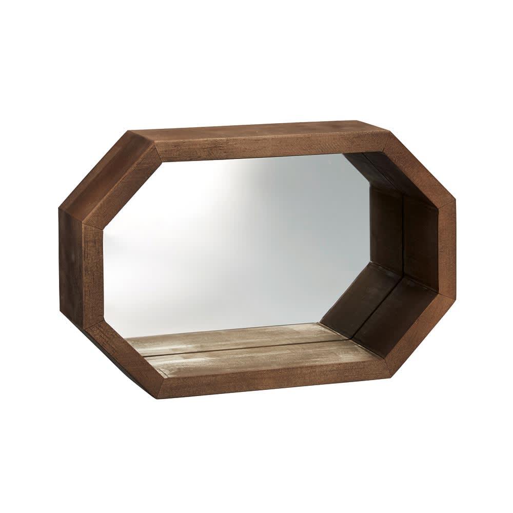八角形 インテリアフレーム  ミラー (イ)ブラウン
