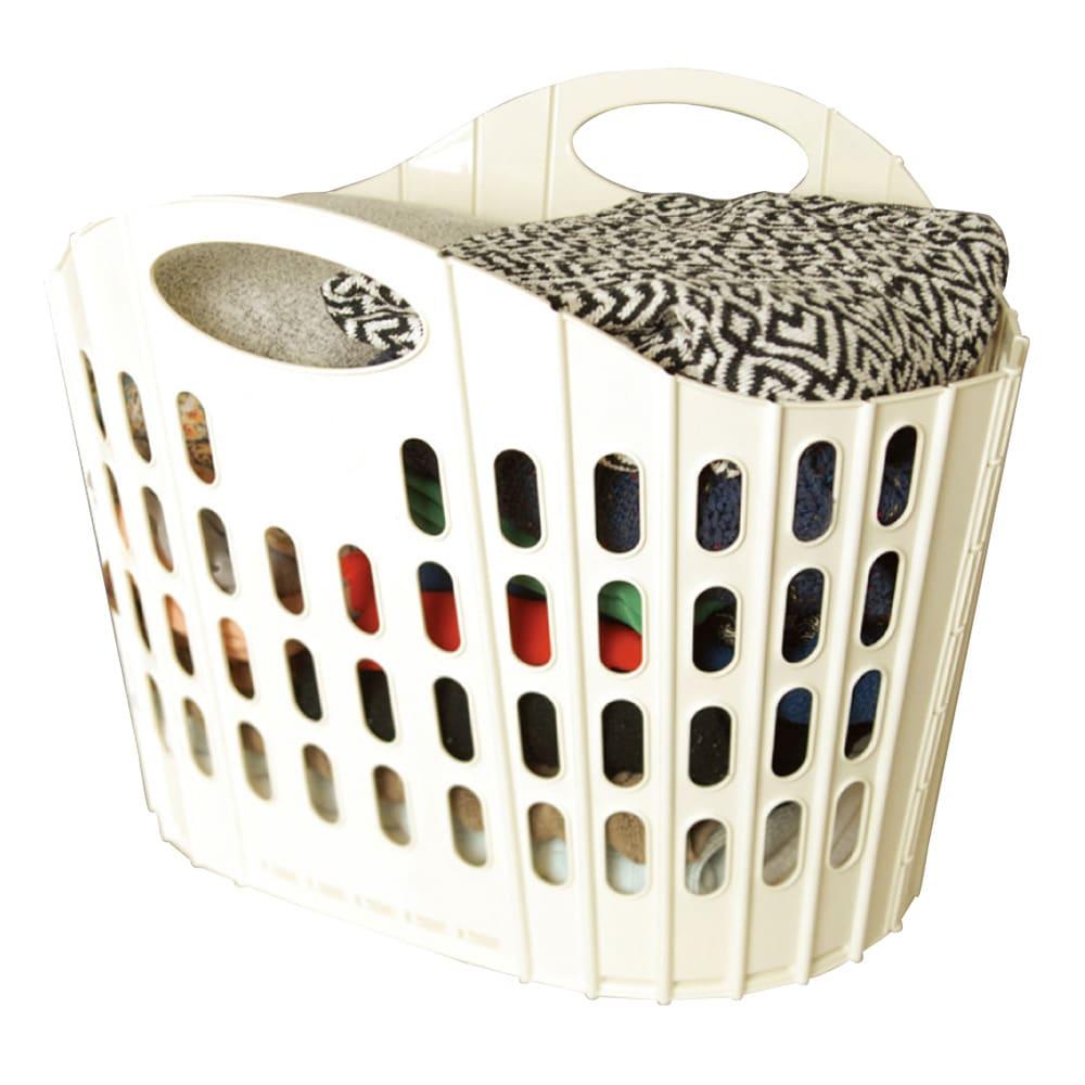 折りたたみバスケットベーシック 単品 大容量ながら使い終わったらフラットに畳め、場所を取らないのも魅力。