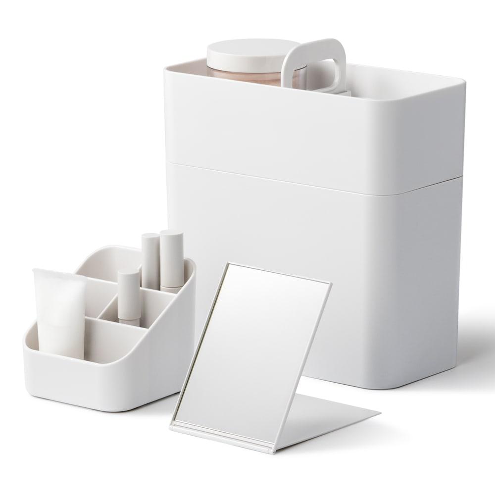 Like-it 持ち運びができる 樹脂製 メイクボックス  (ア)ホワイト フルメイクに必要なメイクアップセットをまとめて収納できるBOXです。
