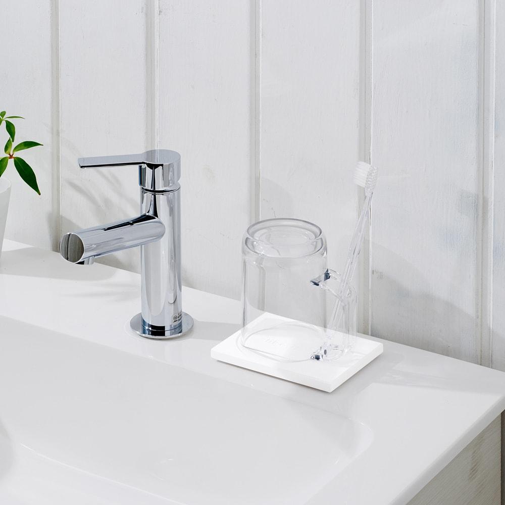 Like-it 水が切れる スタンドマグ&珪藻土トレーセット (ア)クリア ※歯ブラシは付属しません。