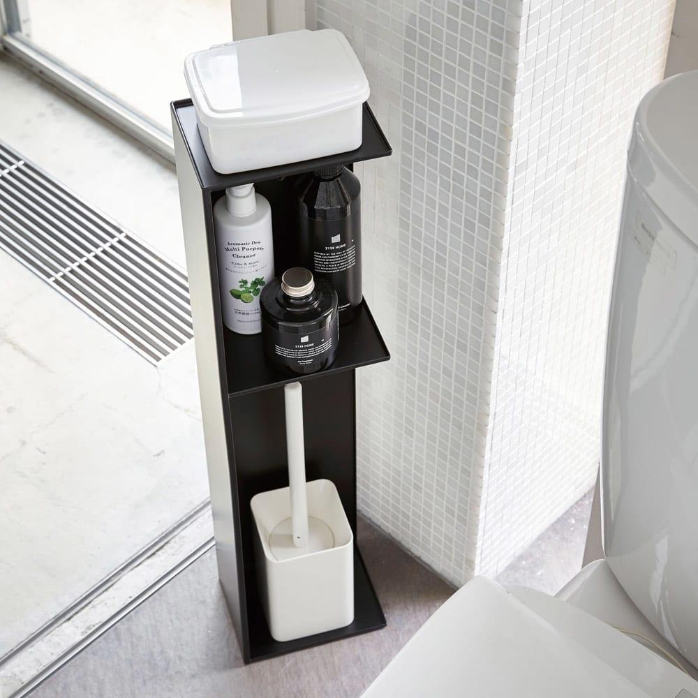 Tower/タワー スリムトイレラック ホワイト/ブラック トイレ収納・トイレラック・サニタリー雑貨