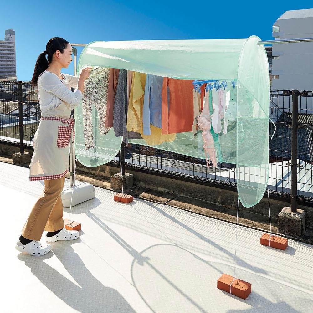 花粉・黄砂にも! 雨よけランドリーテント 風を通すメッシュ素材で、洗濯物を雨や花粉、黄砂から守ります
