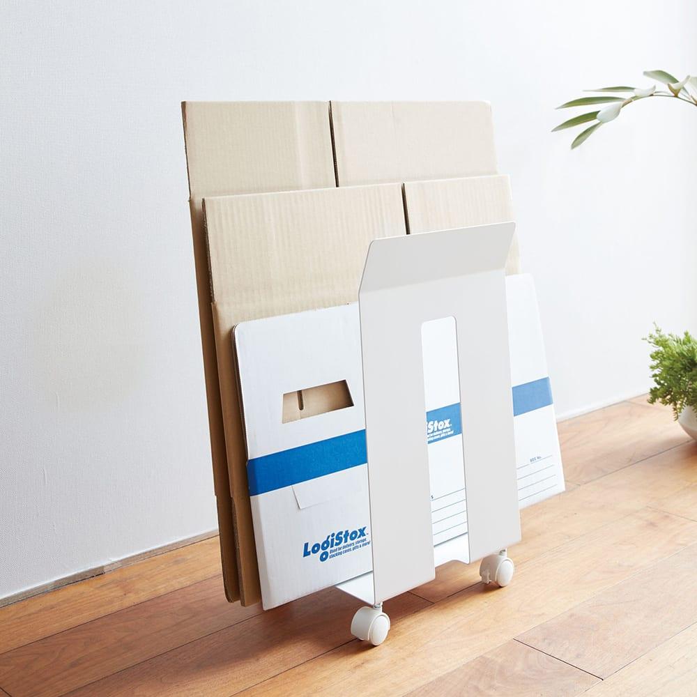 ダンボール&紙袋ストッカー フレーム (ア)ホワイト