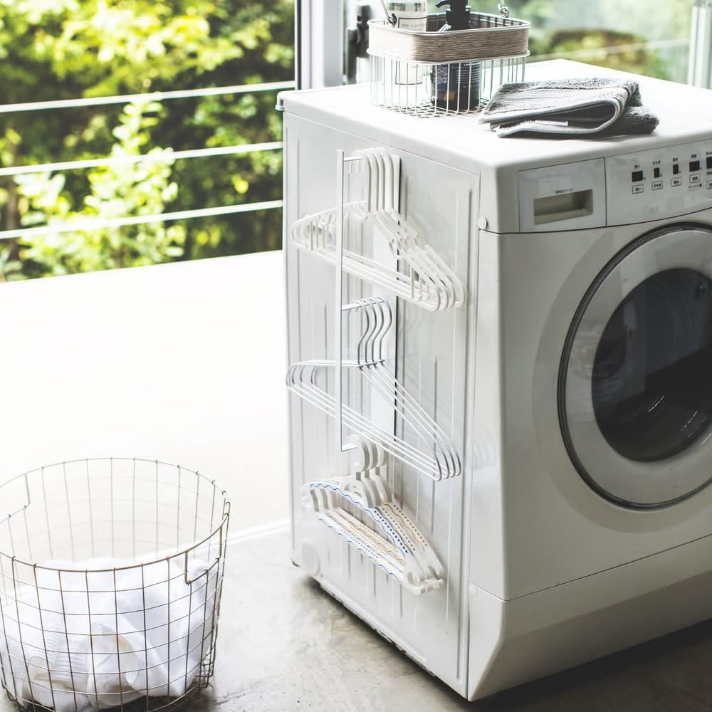 マグネット 洗濯ハンガー 収納ラック タワー ホワイト お風呂グッズ・バス用品