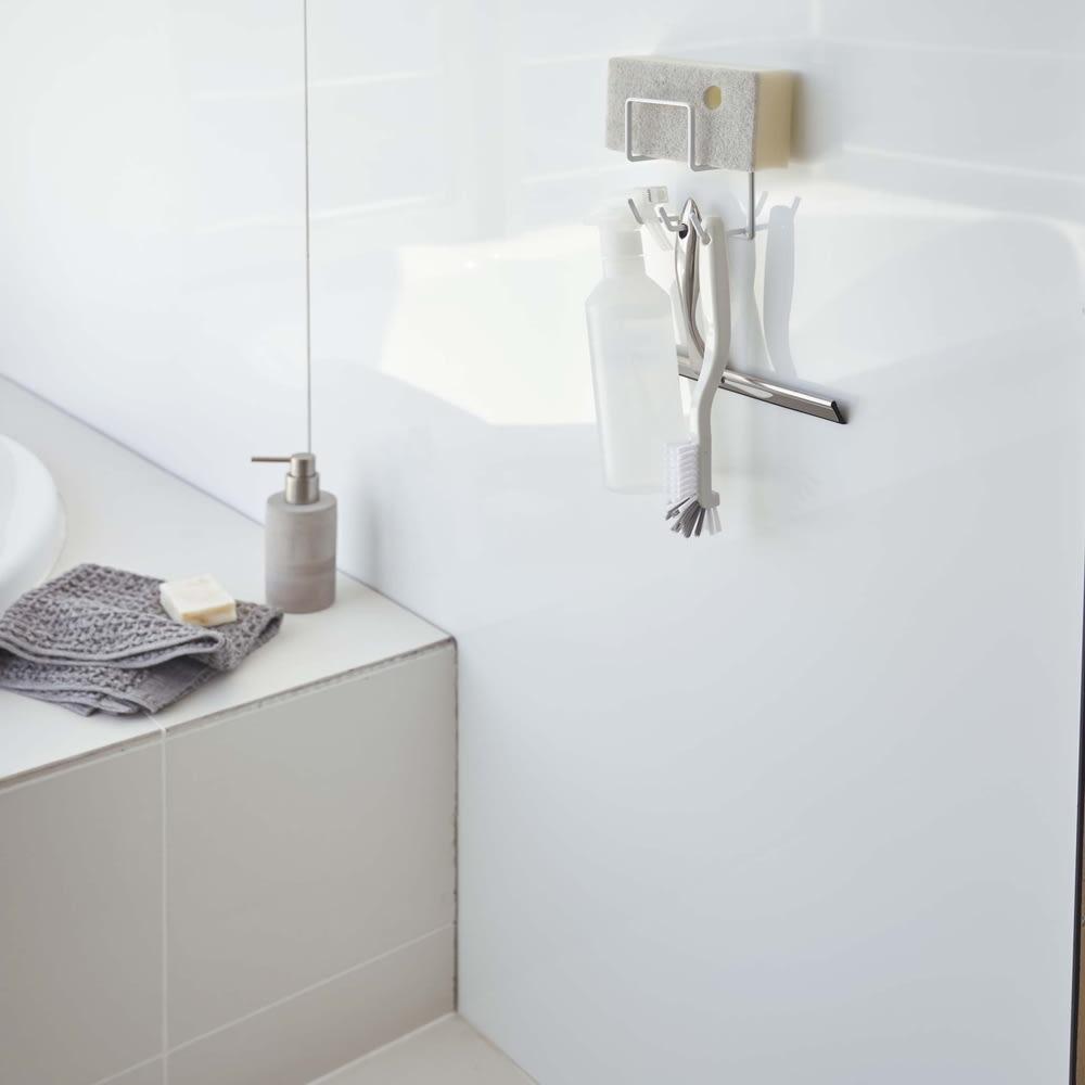 マグネット バスルーム クリーニングツールホルダー/掃除用具ホルダー タワー ホワイト お風呂グッズ・バス用品