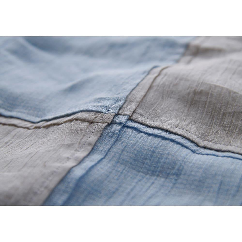 季ノ布 麻のシャリ感 風薫る皐月シリーズ 洗える麻肌掛けふとん シングルサイズ 生地アップ(イ)ブルー