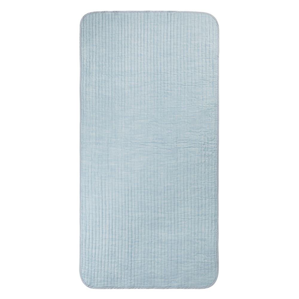 季ノ布 麻のシャリ感 風薫る皐月シリーズ 洗える麻敷きパッド (イ)ブルー