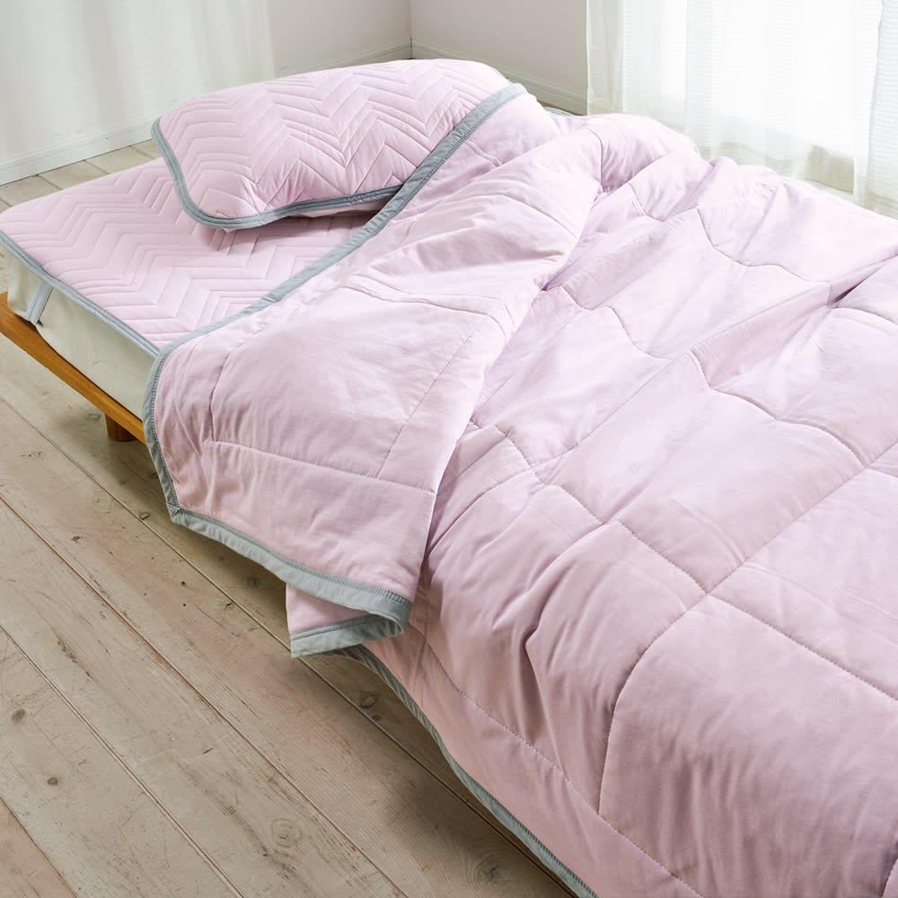 西川×ディノス クールコットン寝具シリーズ 敷きパッド シングル (イ)ラベンダー