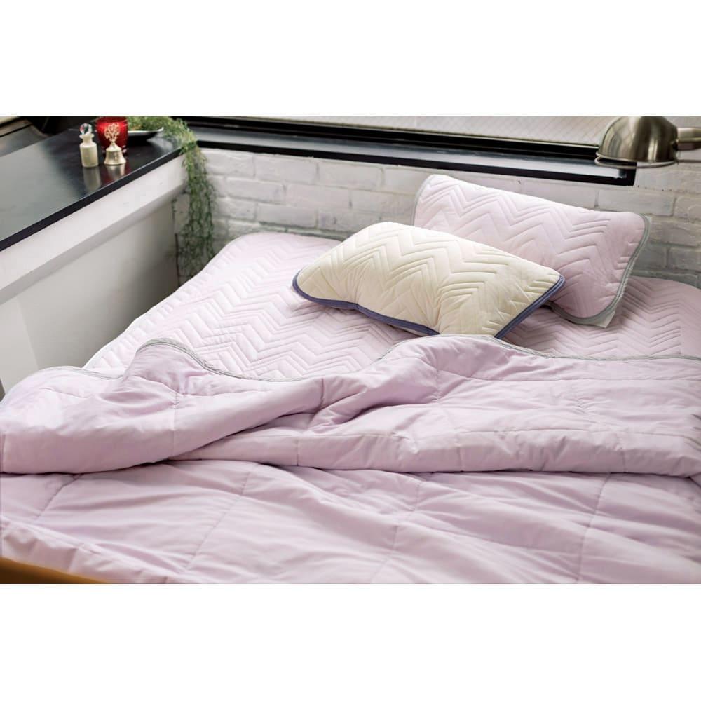 西川×ディノス クールコットン寝具シリーズ 敷きパッド セミダブル ラベンダー※お届けは敷パッドです。